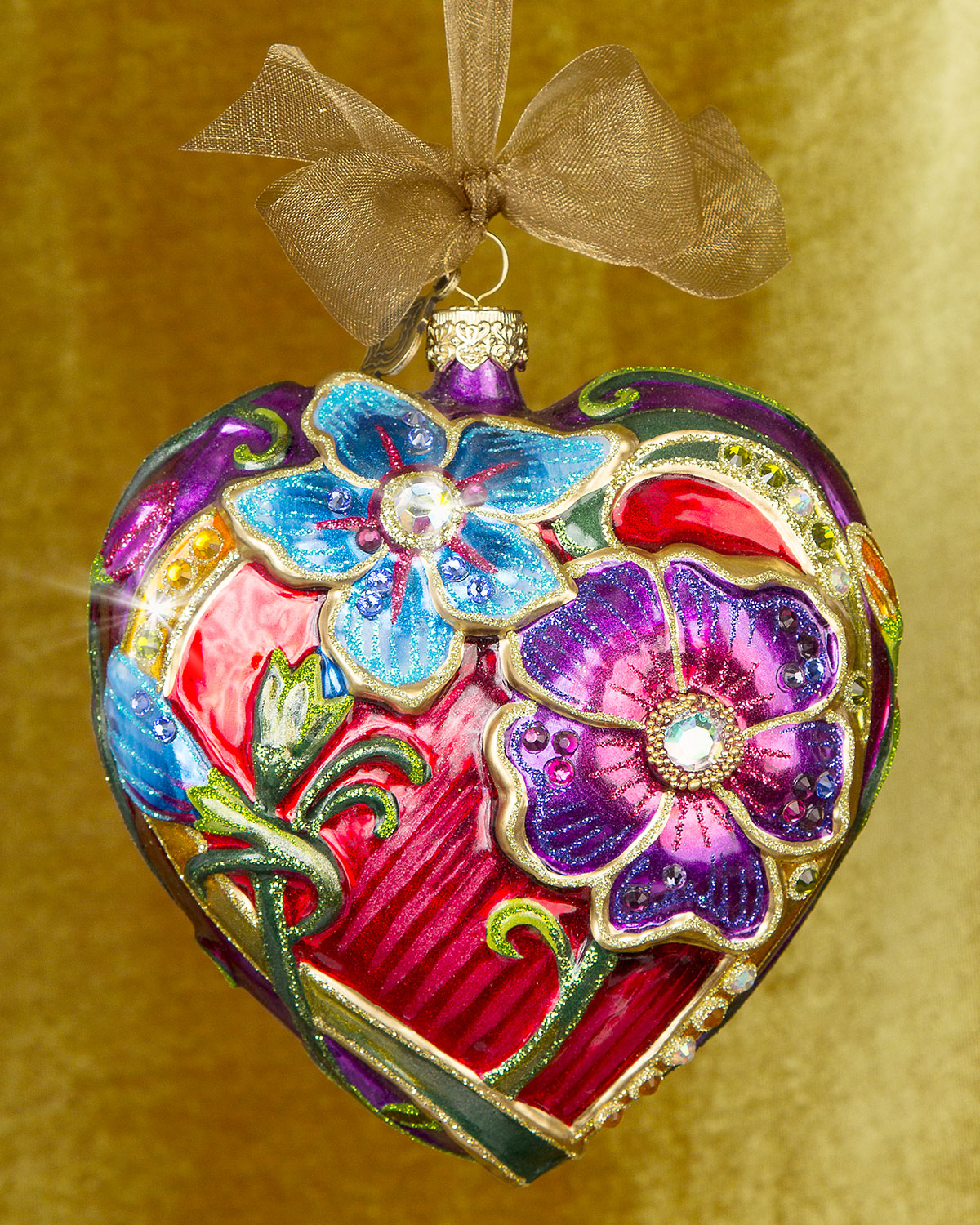 Floral Heart Christmas Ornament