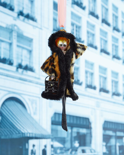 Lady with Hooded Leopard Coat Christmas Ornament