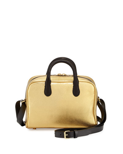 Metallic Leather Satchel Bag, Gold