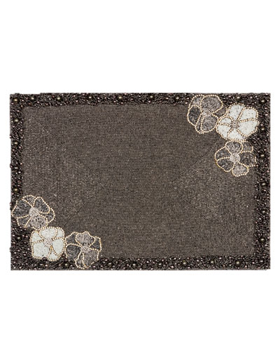 Floral-Beaded Place Mat, Black