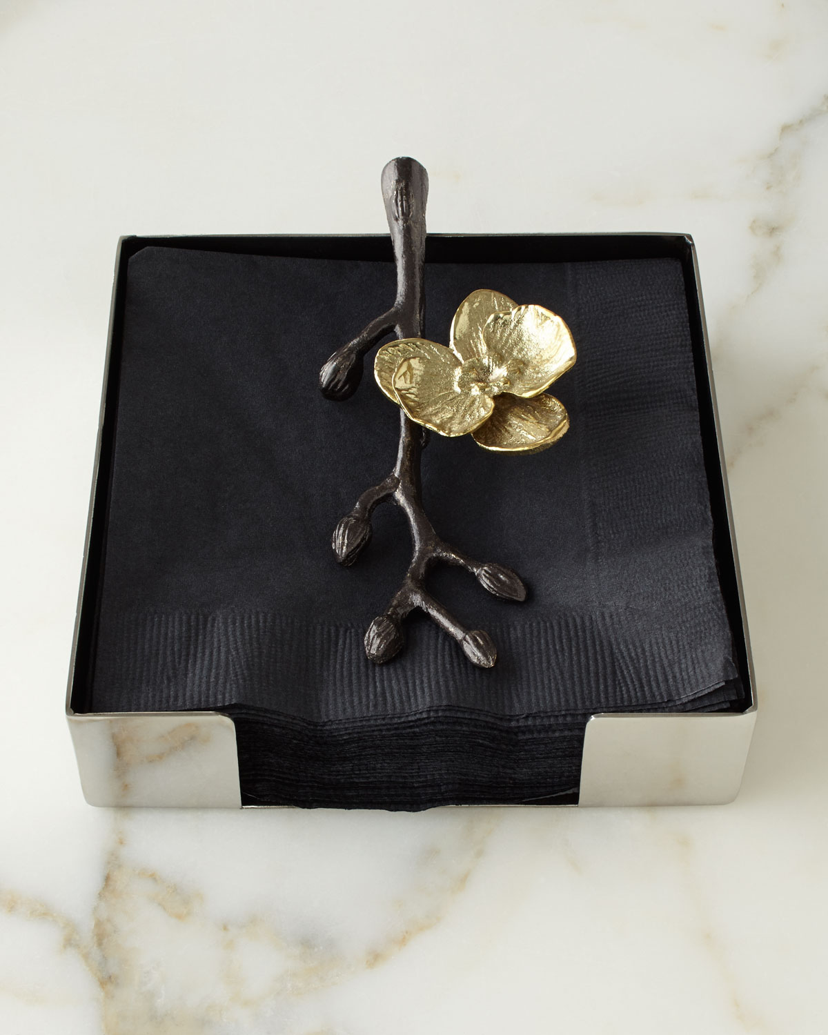 Michael Aram Barware & accessorys GOLD ORCHID COCKTAIL NAPKIN HOLDER