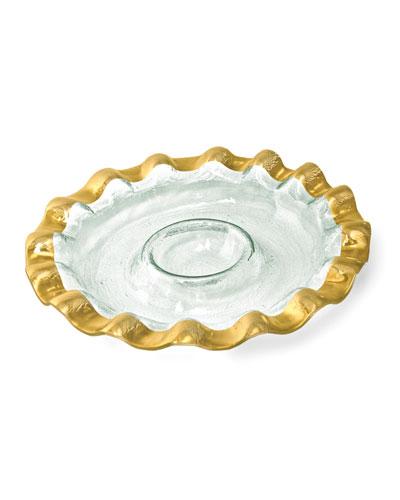 Annieglass Ruffle Gold Chip & Dip Server