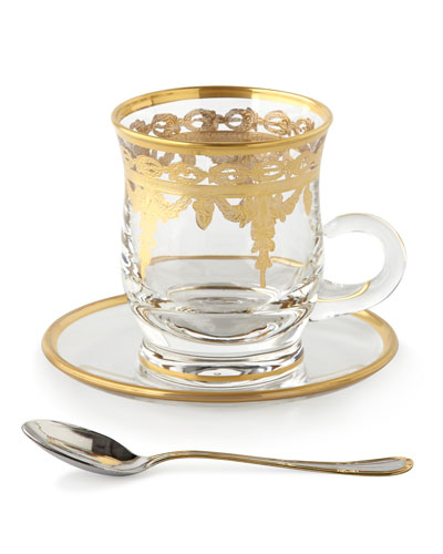 Arte Italica Four Vetro Gold Cups & Saucers