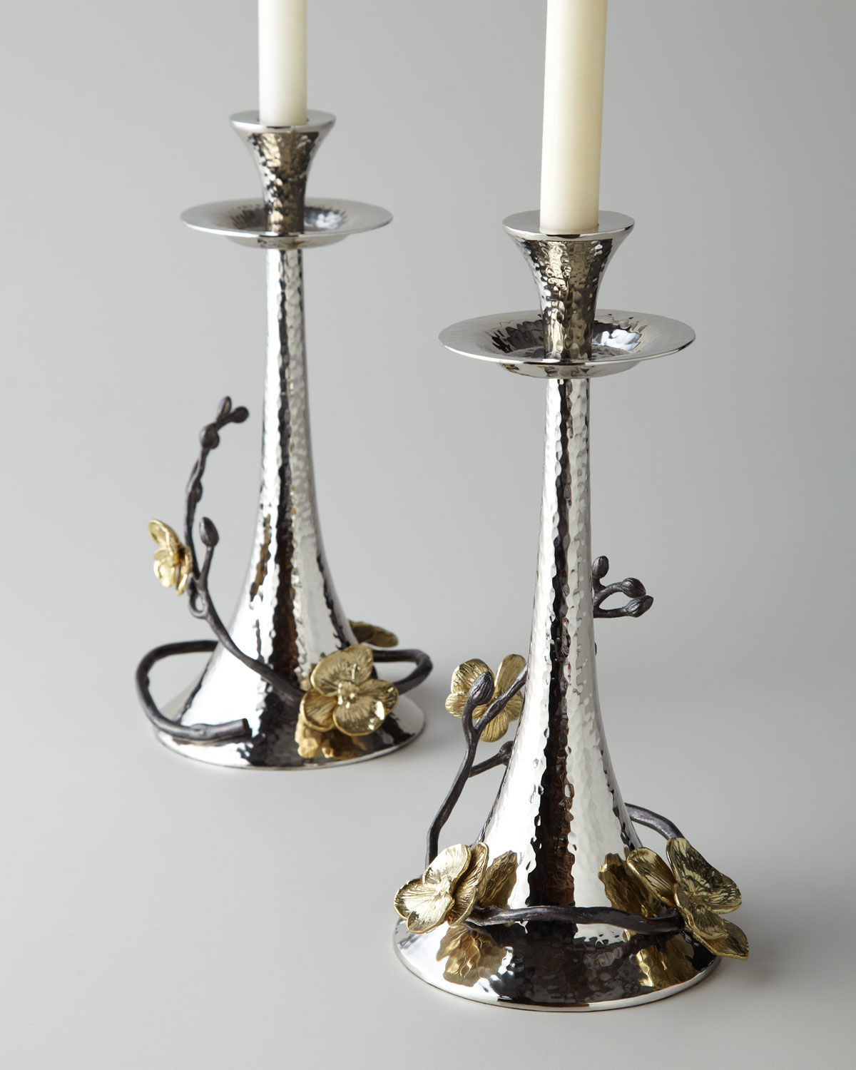 Michael Aram Candles TWO GOLD ORCHID TAPER CANDLEHOLDERS