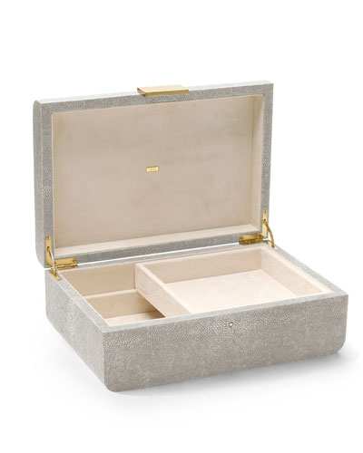 Modern Large Embossed Faux-Shagreen Jewelry Box