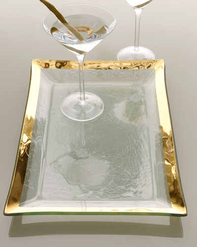 Annieglass Roman Antique Gold Martini Tray