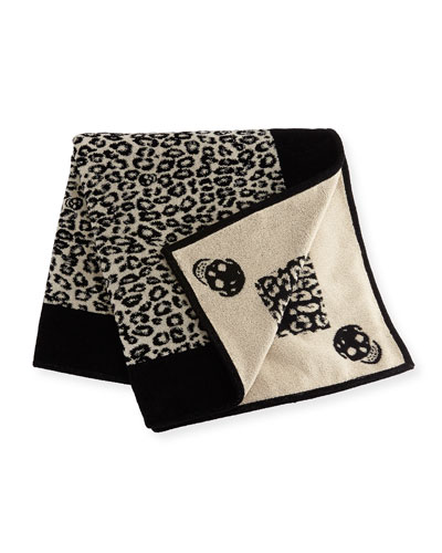 Leopard Skull Beach Towel, Black