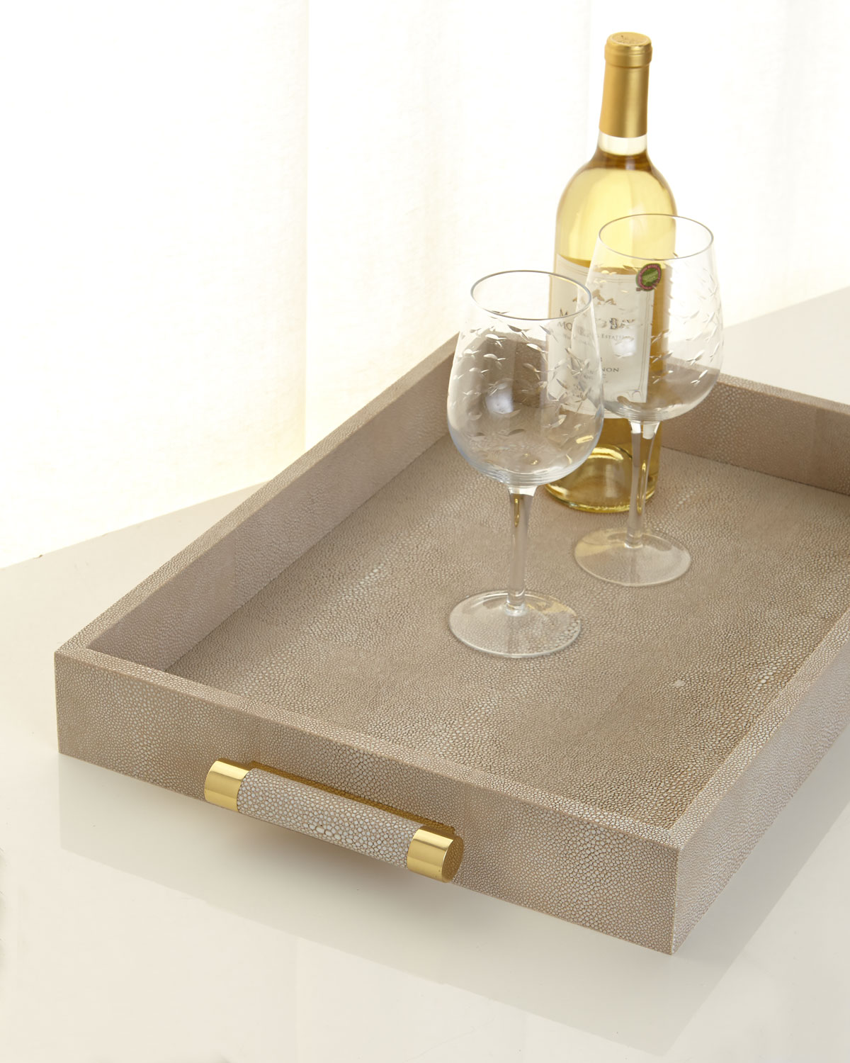Aerin Clothing WHEAT FAUX-SHAGREEN SERVING TRAY