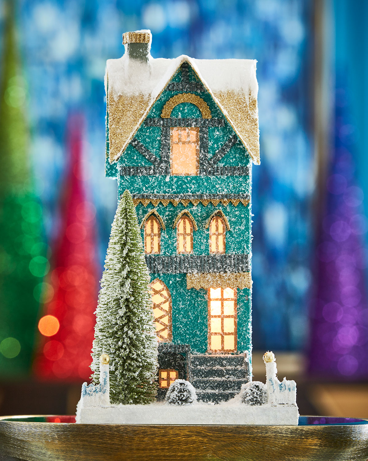 Teal Townhouse Christmas Decoration