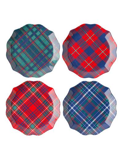 New Trad Tartan Tidbit Plates, Set of 4