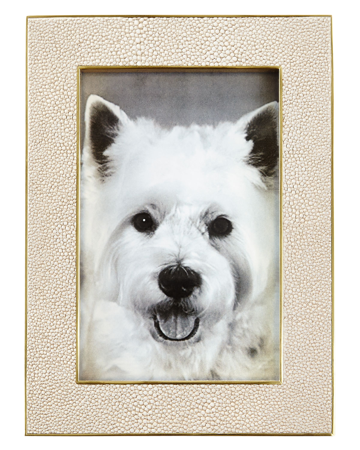"""Aerin Picture frames CLASSIC FAUX-SHAGREEN 4"""" X 6"""" PICTURE FRAME, WHEAT"""