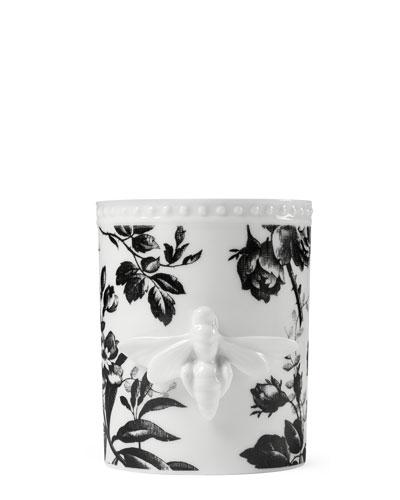 Herbarium Porcelain Candle, Black Pattern