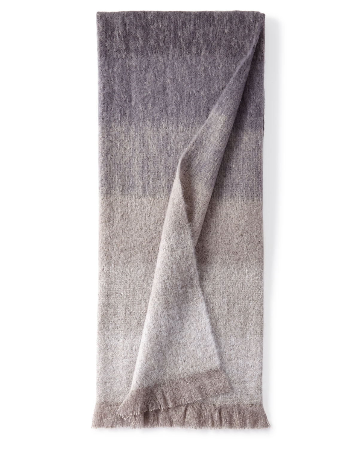 Dip Dyed Mohair Throw Blanket, Charcoal