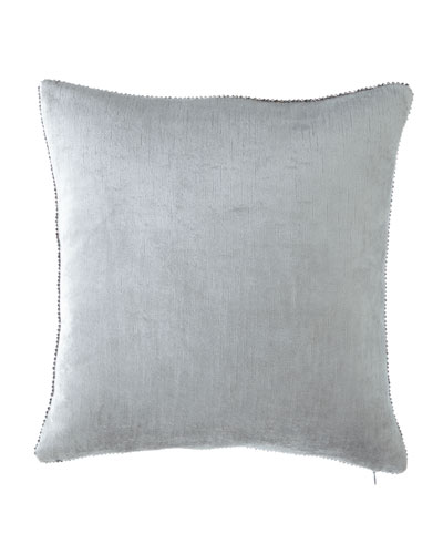 Michael Aram Beaded-Edge Velvet Pillow in Light Blue,
