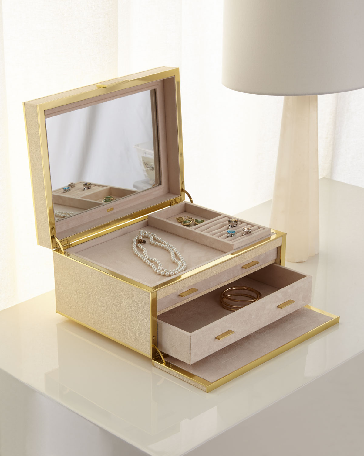 Aerin LUXE FAUX-SHAGREEN JEWELRY BOX, CREAM
