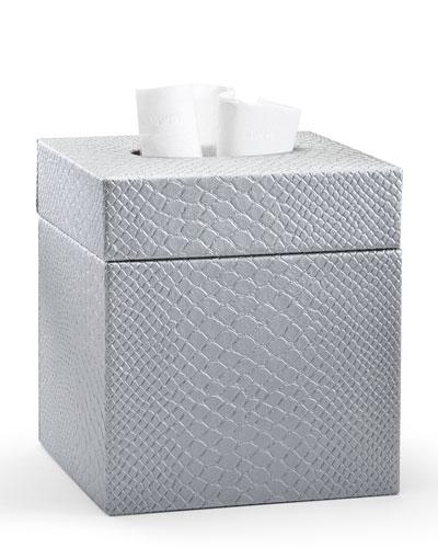 Conda Tissue Box Cover, Silver