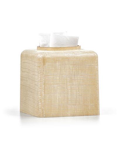 Woven Tissue Box Cover, Gold