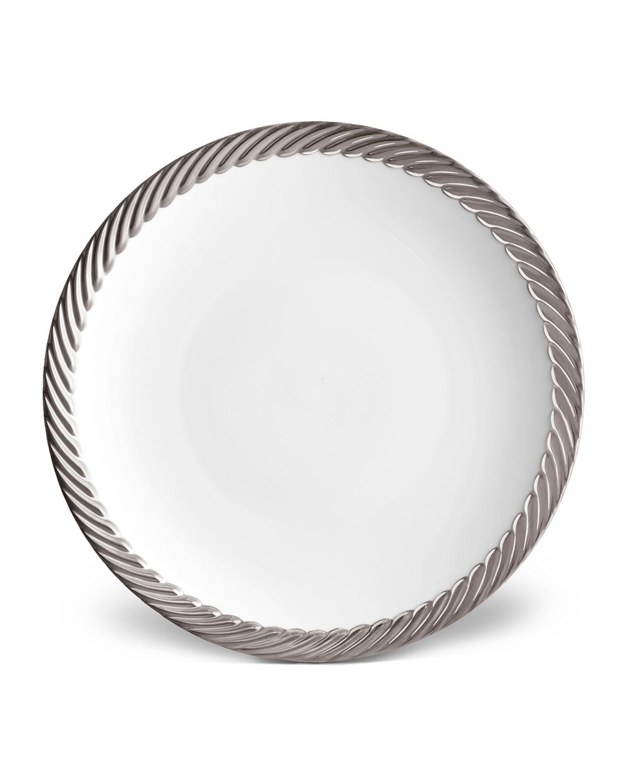 L'objet Dinnerwares CORDE DINNER PLATE, WHITE/SILVER