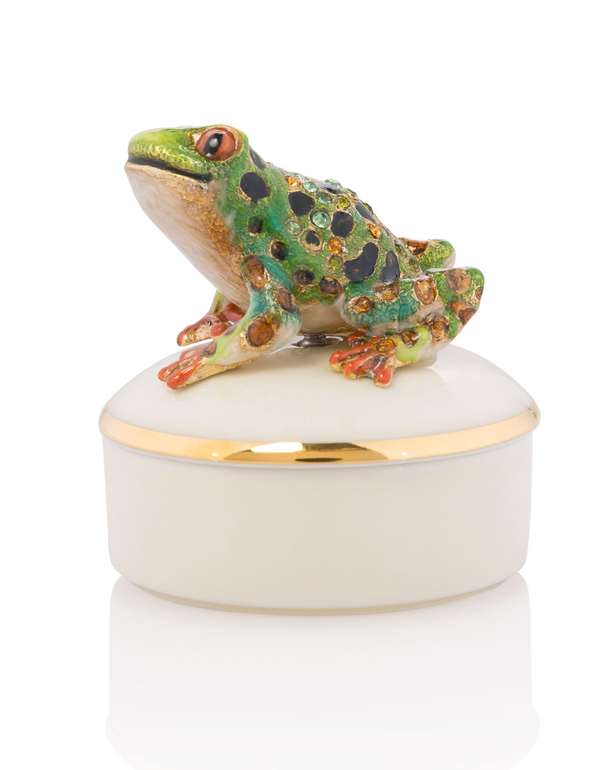 Jay Strongwater FROG ROUND PORCELAIN BOX