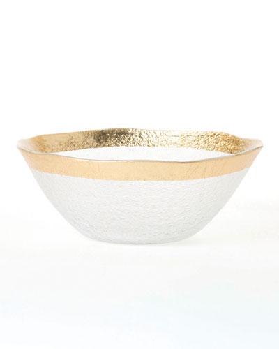 Rufolo Glass Organic Small Bowl, Gold