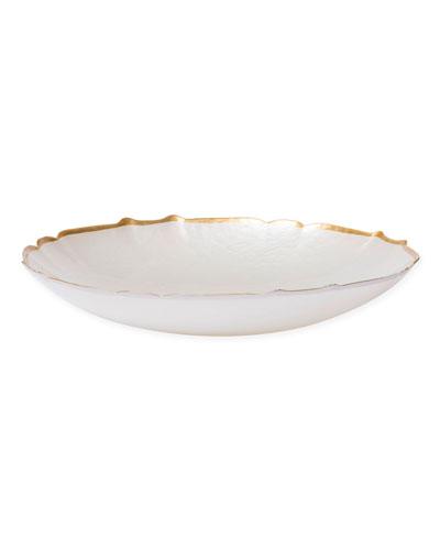 Pastel Glass Large Bowl, White