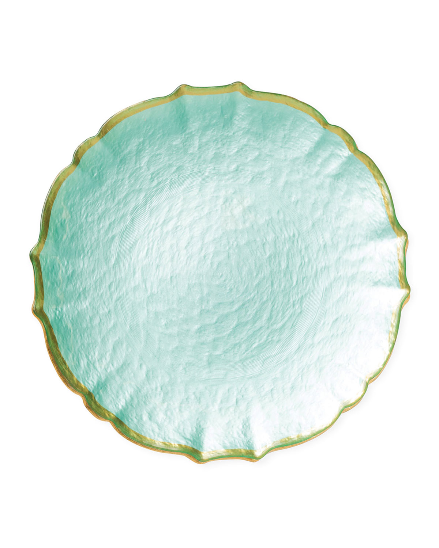 Vietri Dinnerwares PASTEL GLASS SALAD PLATE, AQUA
