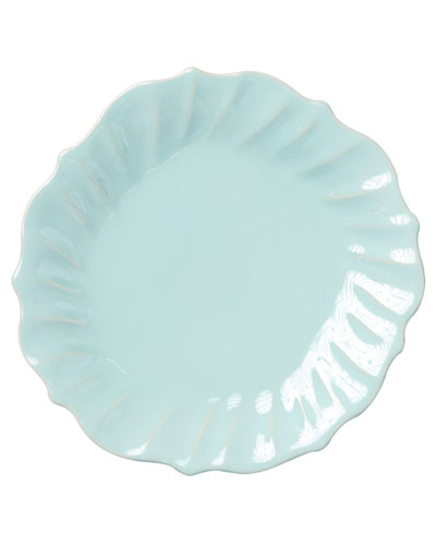 Incanto Stone Ruffle Dinner Plate, Aqua