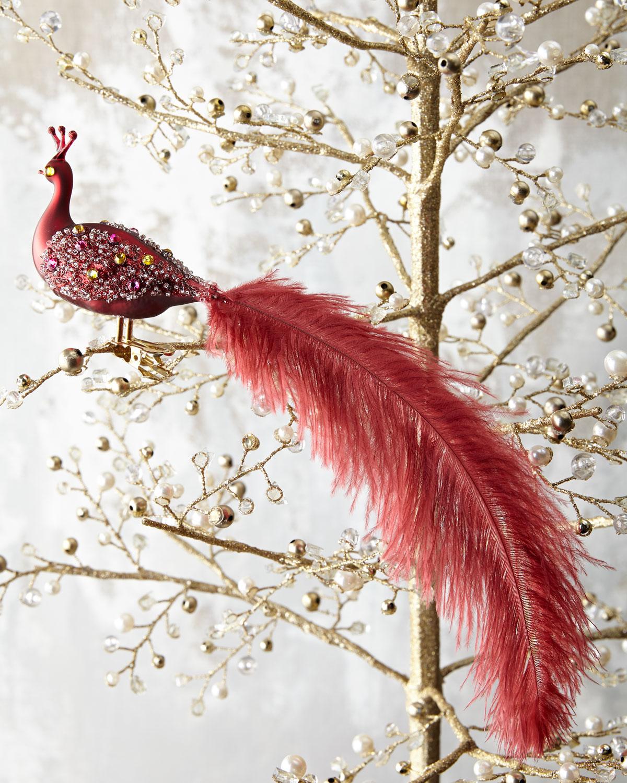 Peacock Ornament Clip, Red