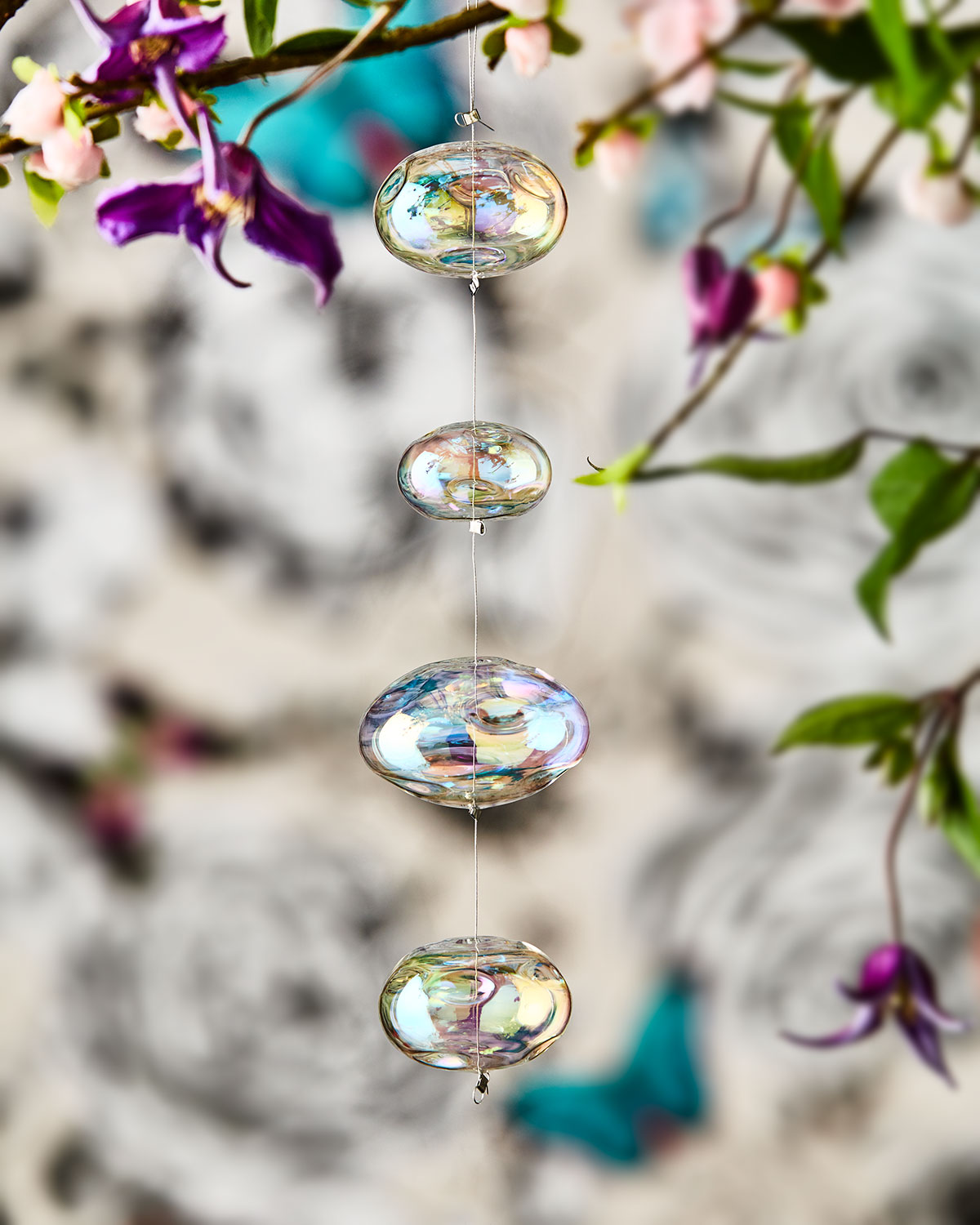 Dangling Iridescent Glass Ornaments