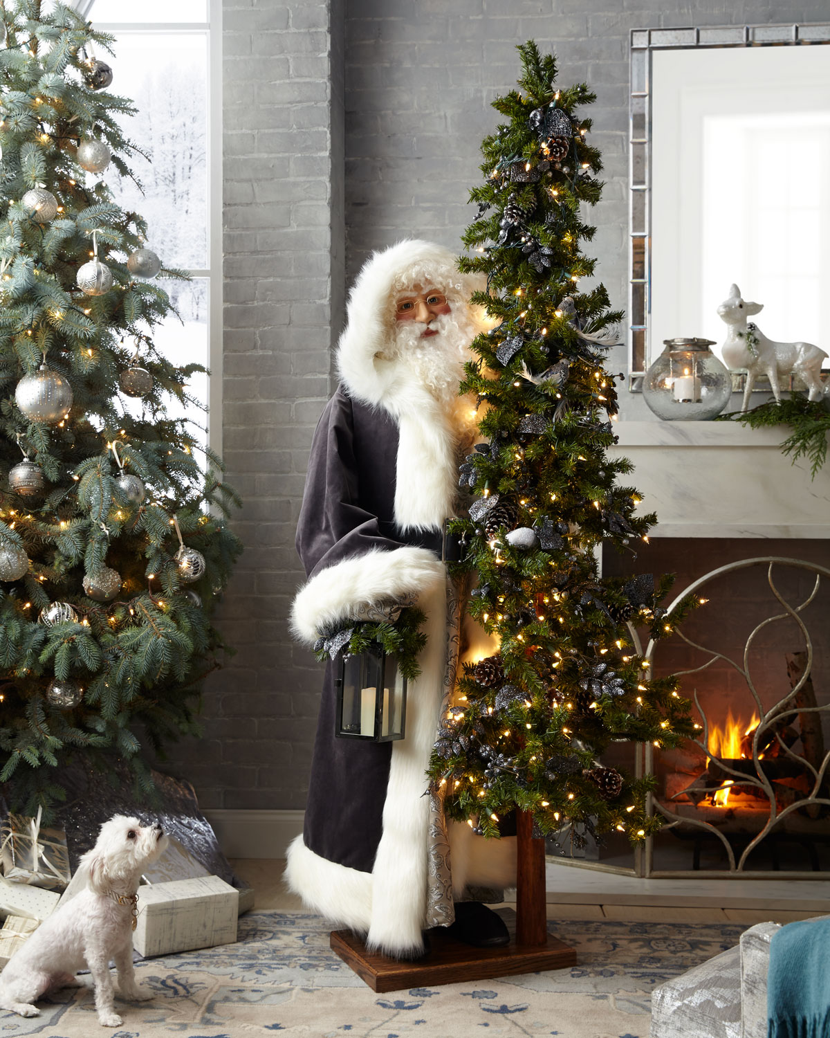 Elegant Pewter Father Christmas with Tree & Reindeer