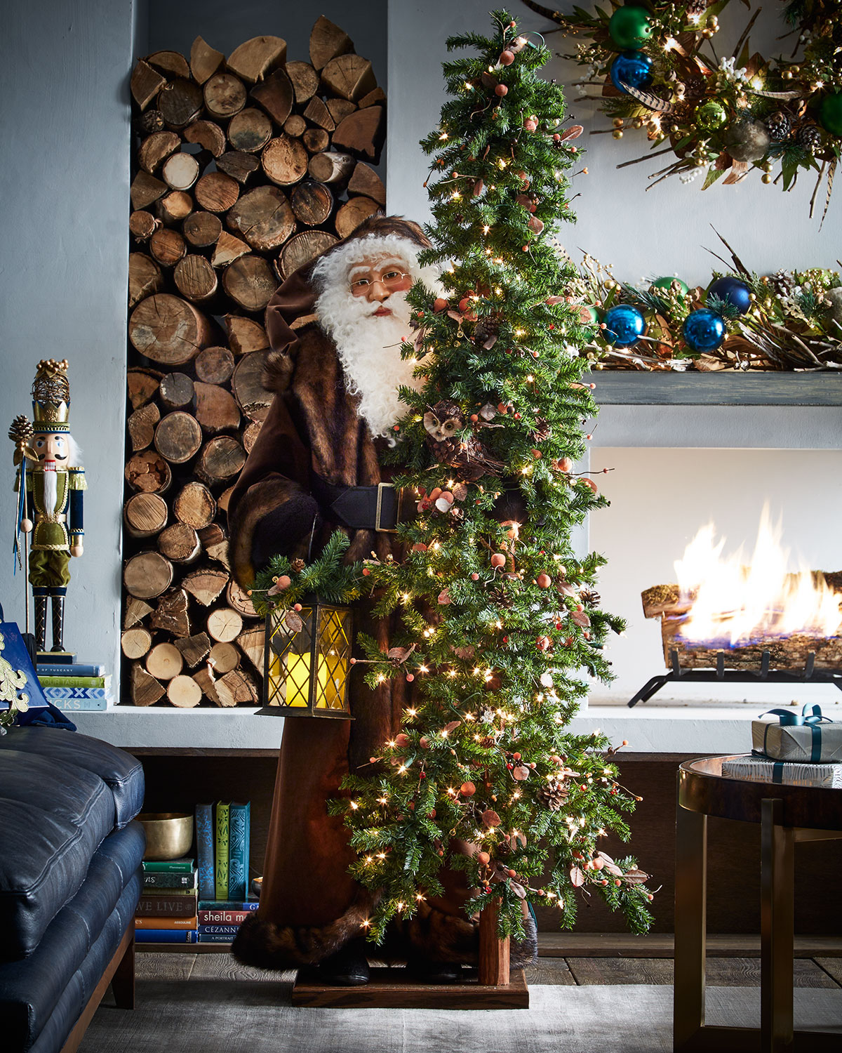 Festive Timber Father Christmas with Tree
