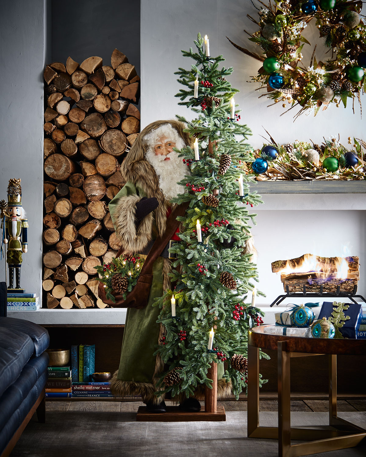 Tannenbaum Tidings Cloaked Father Christmas with Tree