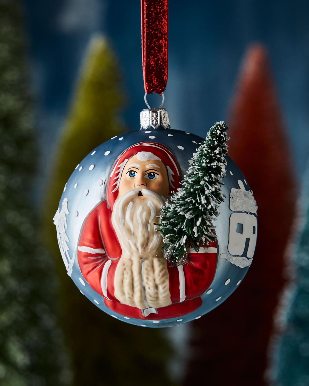 Jingle Ball Village Father Christmas with Tree Ornament