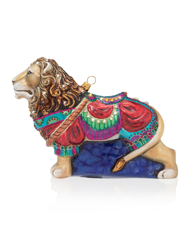 Carousel Lion Glass Christmas Ornament