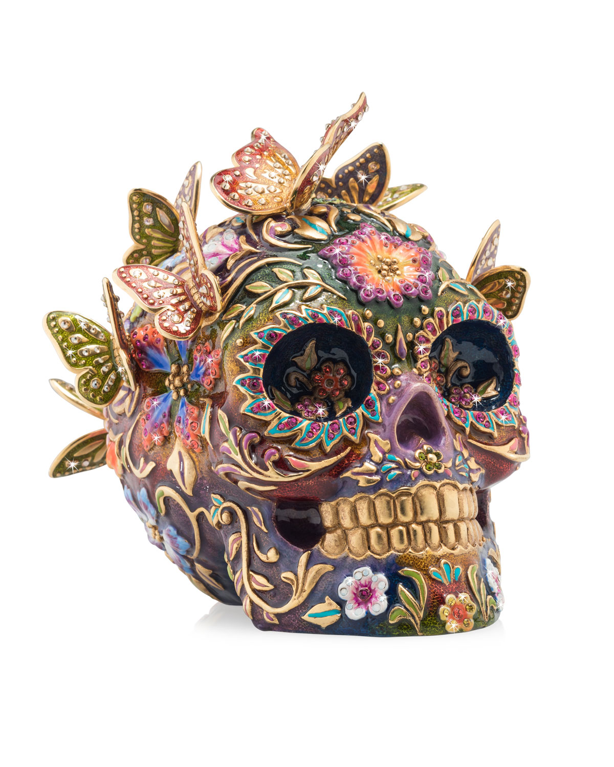 Jay Strongwater Arts SKULL WITH BUTTERFLIES FIGURINE