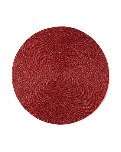 Kim Seybert Handmade Confetti Beaded Placemat, Red