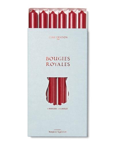 Burgundy Taper Candlesticks, Set of 6