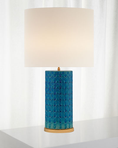 AERIN Eliot Blue Wave Table Lamp with Linen
