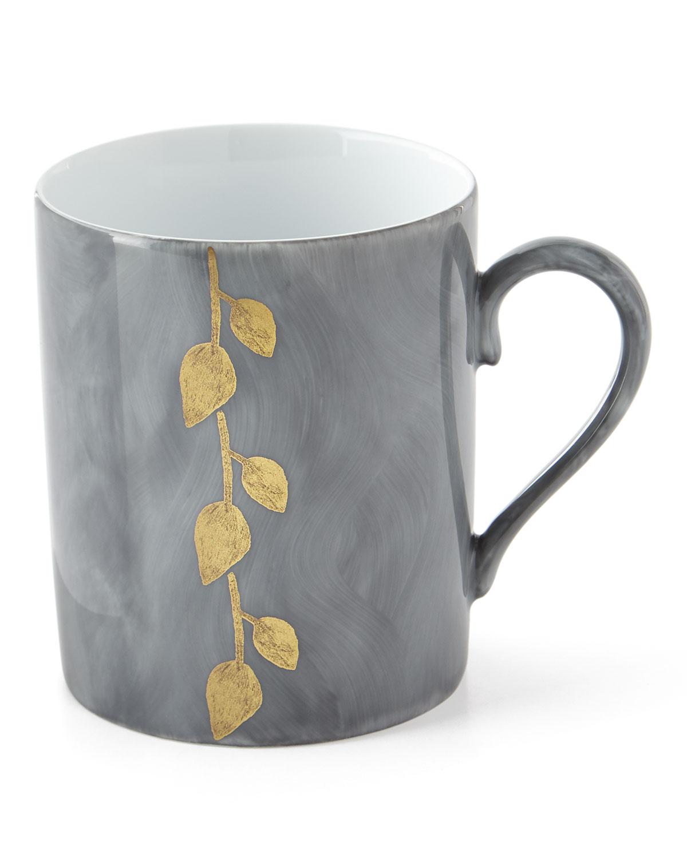 Haviland & Parlon Drinkwares DAPHNE ARDOISE GOLD-LEAF MUG, GRAY