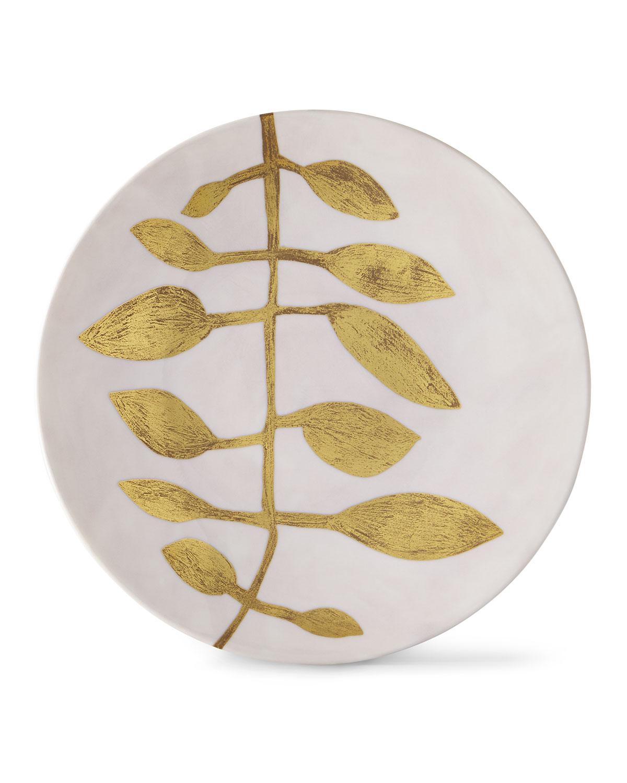 Haviland & Parlon Dinnerwares DAPHNE CAMELIA GOLD-LEAF BUFFET PLATE, PINK