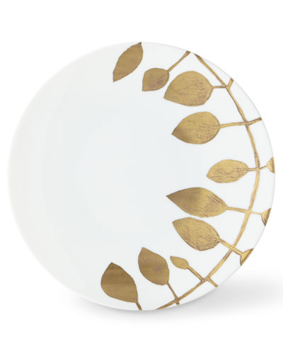 Haviland & Parlon Daphne White Gold-Leaf Dinner Plate
