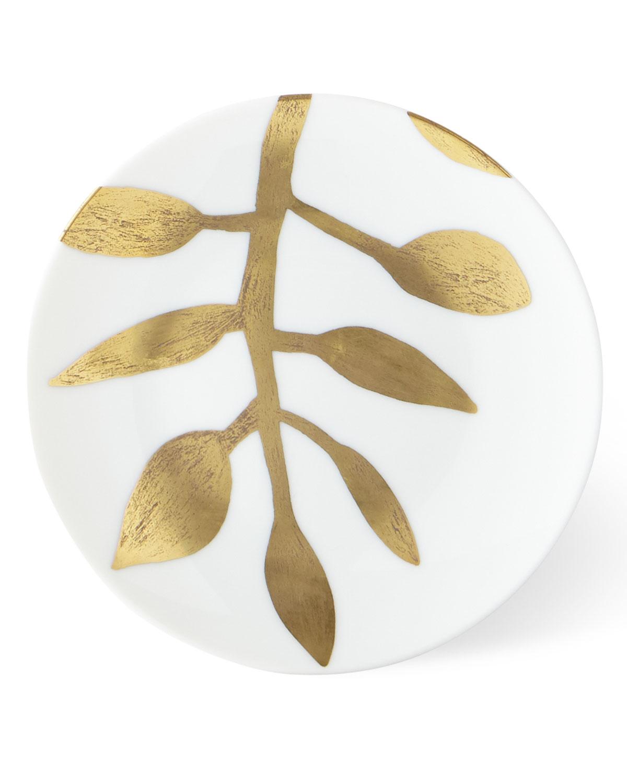 Haviland & Parlon Dinnerwares DAPHNE WHITE GOLD-LEAF BREAD BUTTER PLATE