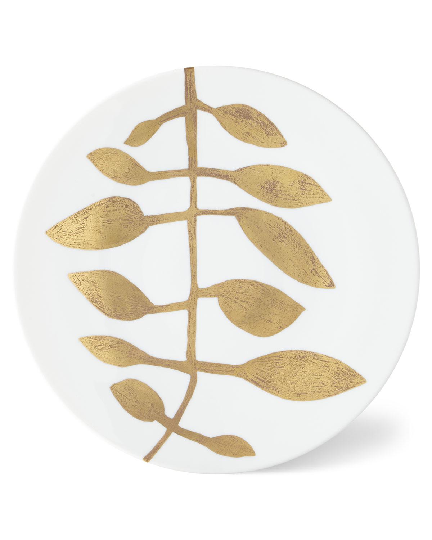 Haviland & Parlon Dinnerwares DAPHNE WHITE GOLD-LEAF BUFFET PLATE