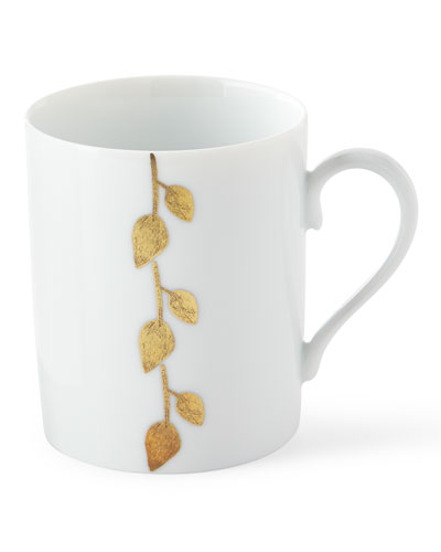 Haviland & Parlon Daphne Gold-Leaf Mug, White