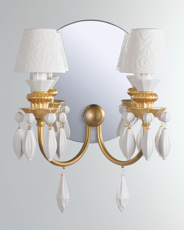 Lladrò Clothing BELLE DE NUIT 2-LIGHT WALL SCONCE, GOLD