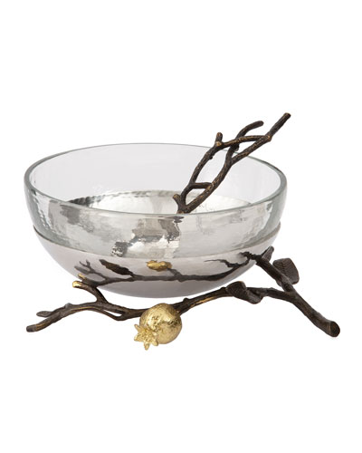 Pomegranate Glass Bowl with Spoon