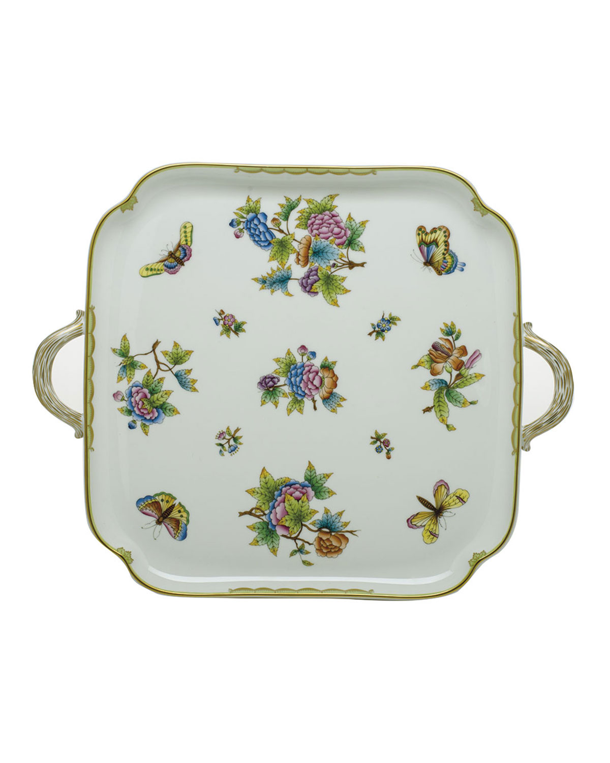 Herend Clothing QUEEN VICTORIA SQUARE TRAY WITH HANDLES