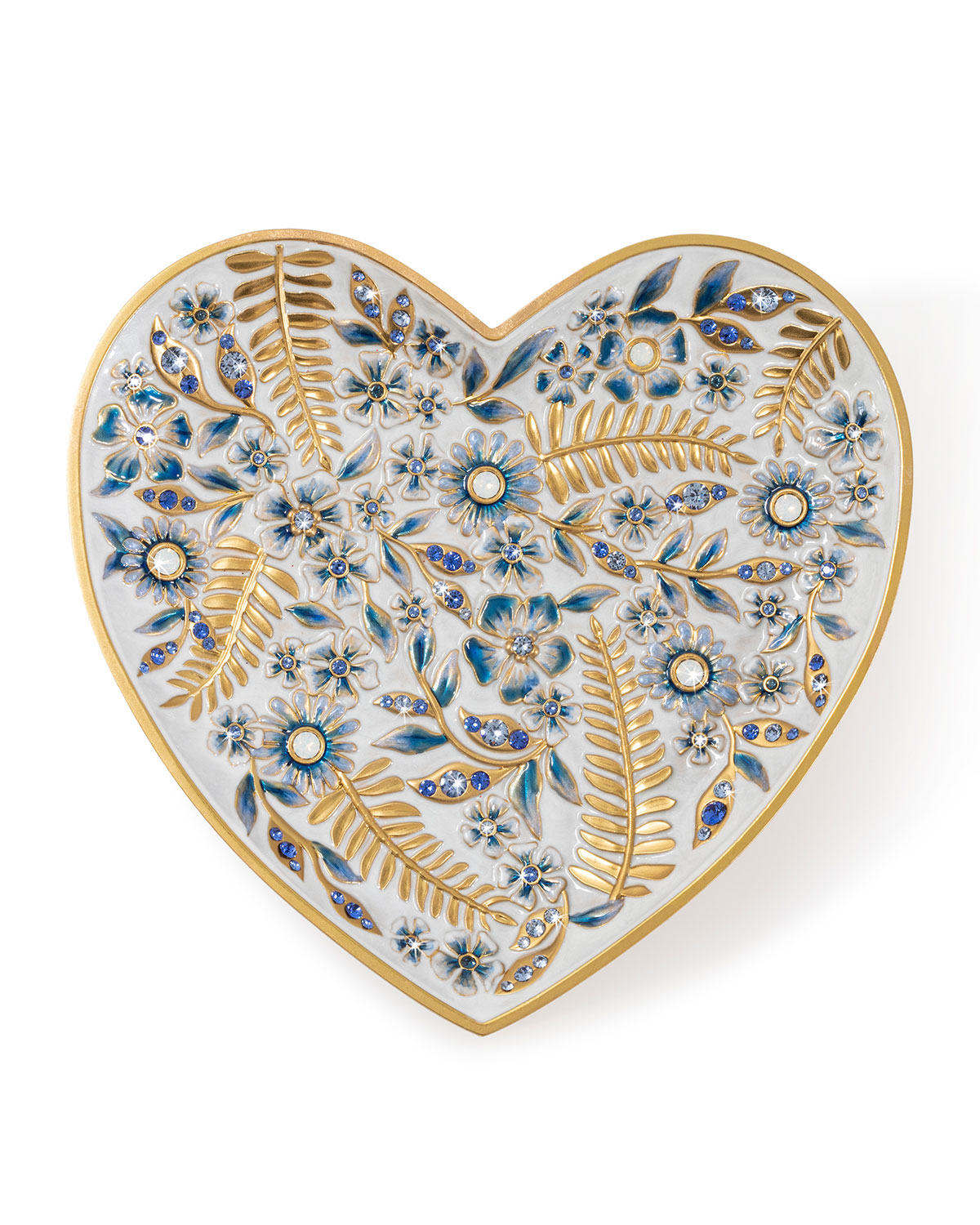 Jay Strongwater Clothing INDIGO FLORAL HEART TRINKET TRAY