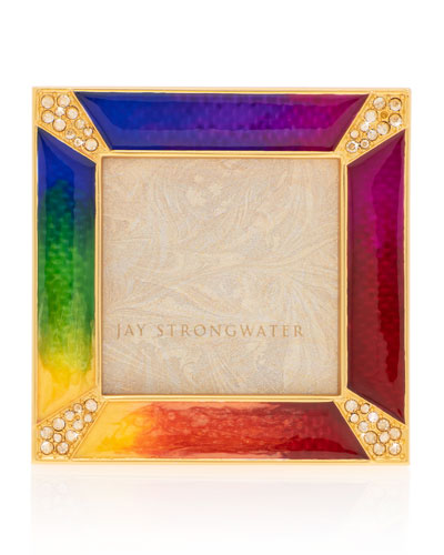 Rainbow Pave Corner Square Frame, 2