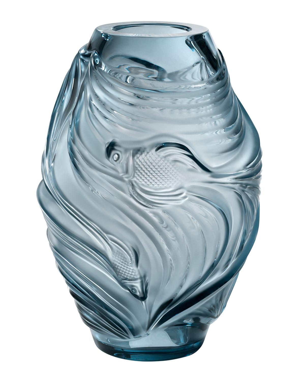 Lalique Home decors MEDIUM POISSONS VASE, PERSEPOLIS BLUE